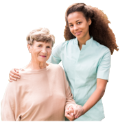 old lady with caregiver