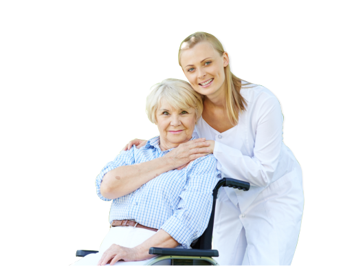 old woman on wheelchair holding her caregiver's hand