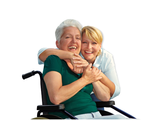 old woman on wheelchair width caregiver